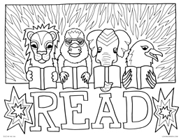 Back To School Kids Reading Books Coloring Pages Printable | 200x259