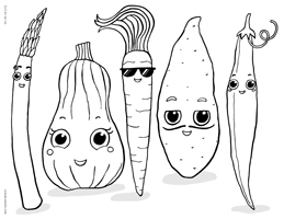Cute Kawaii Cartoon Vegetables & Harvest Veggies - Happy Thanksgiving - Free Printable Coloring Page for Adults and Kids, by leiahmjansen.com @oleiah