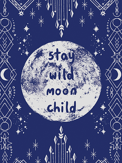 doodles notebook cover - stay wild moon child