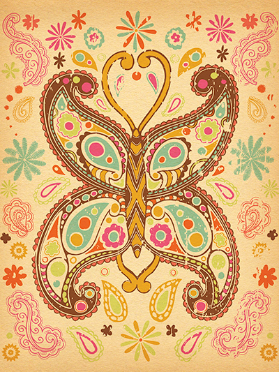 art print poster - paisley butterfly